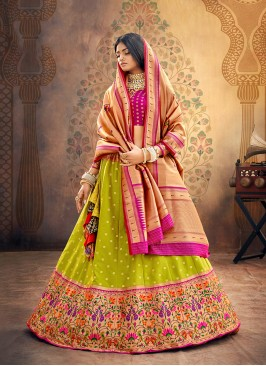 Festive Function Wear Green Color Designer Lehenga Choli