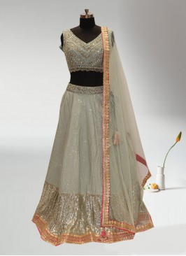 Festive Function Wear Green Color Designer Lehenga Choli