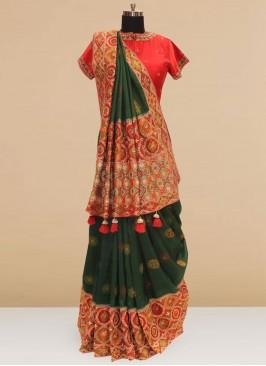 Festive Function Wear Green Color Designer Saree