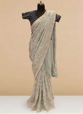 Festive Function Wear Green Color Designer Saree