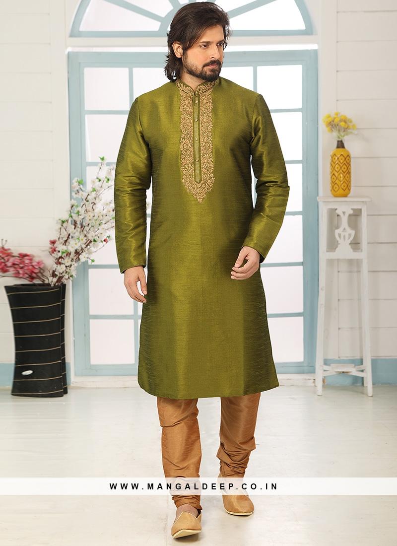 Festive Function Wear Green Color Embroidered Kurta Pajama