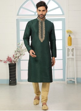 Festive Function Wear Green Color Embroidered Kurta Pajama