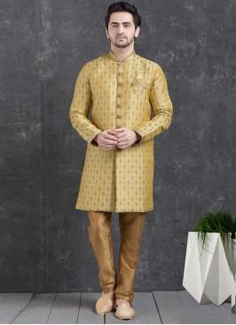 Festive Function Wear Green Color Indo Western Kurta Pajama