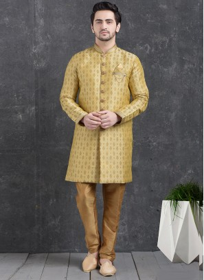Festive Function Wear Green Color Indo Western Kurta Pajama