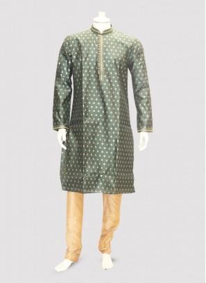 Festive Function Wear Green Color Kurta Pajama