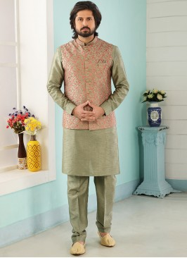 Festive Function Wear Green Color Kurta Pajama With Jacket