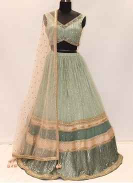 Festive Function Wear Green Color Lehenga Choli