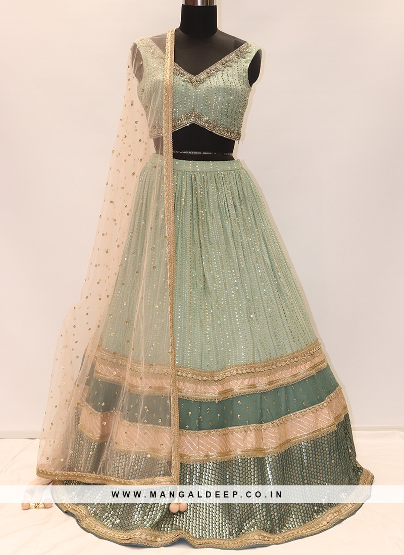 Festive Function Wear Green Color Lehenga Choli