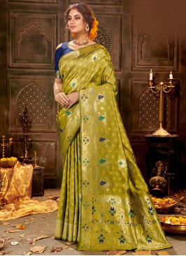 Festive Function Wear Green Color Silk Saree