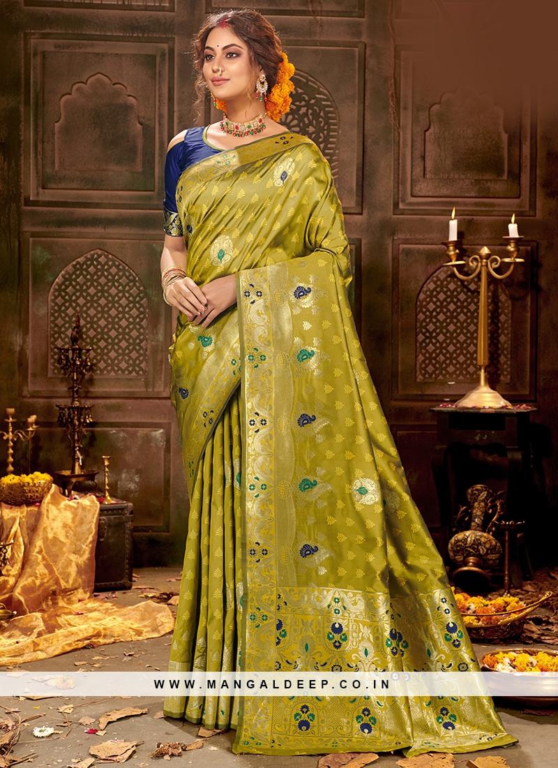 Festive Function Wear Green Color Silk Saree