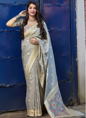 Festive Function Wear Grey Color Banarasi Silk Saree