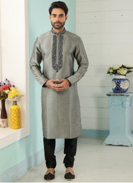 Festive Function Wear Grey Color Embroidered Kurta Pajama