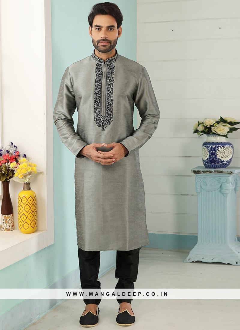Festive Function Wear Grey Color Embroidered Kurta Pajama