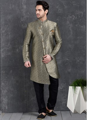Festive Function Wear Grey Color Indo Western Kurta Pajama