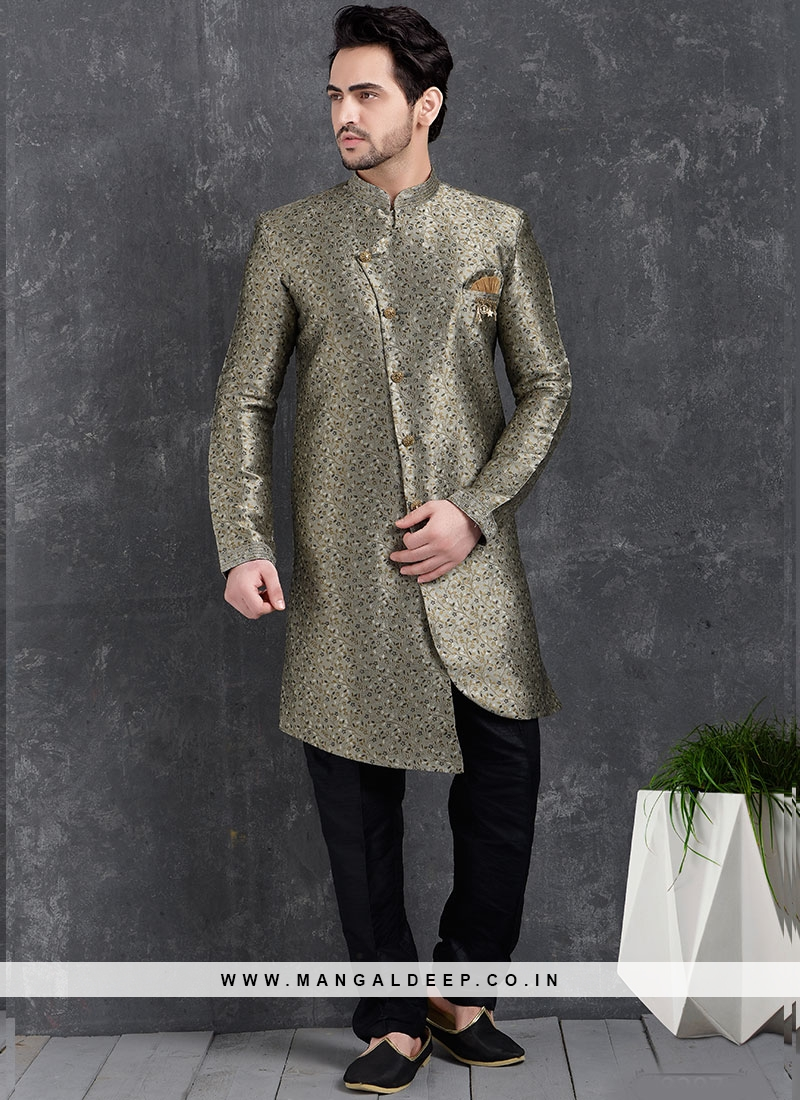 Festive Function Wear Grey Color Indo Western Kurta Pajama