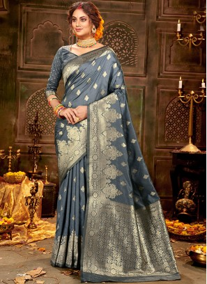 Festive Function Wear Grey Color Silk Saree