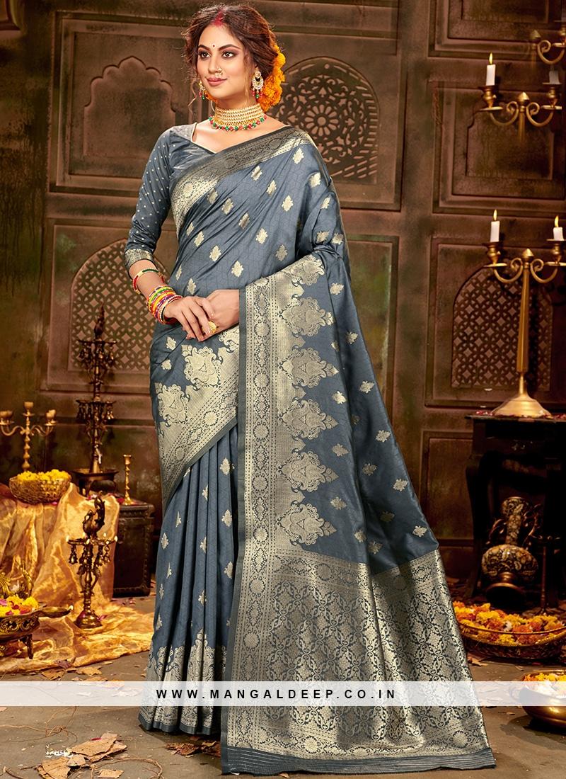 Festive Function Wear Grey Color Silk Saree