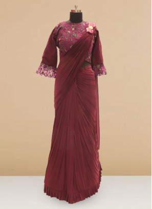 Festive Function Wear Maroon Color Saree