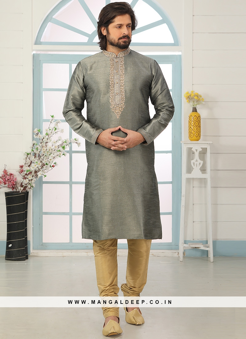 Festive Function Wear Multi Color Embroidered Kurta Pajama