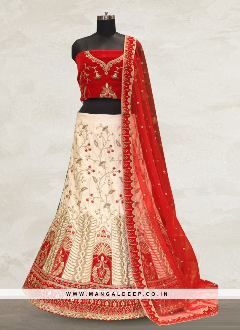 Festive Function Wear Off White Color Bridal Lehenga Choli