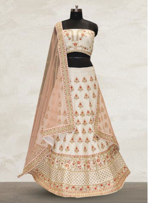Festive Function Wear Off White Color Bridal Lehenga Choli