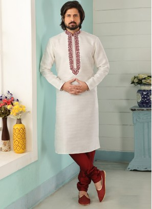 Festive Function Wear Off White Color Embroidered Kurta Pajama