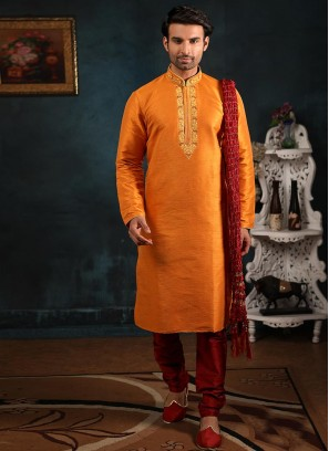 Festive Function Wear Orange Color Banarasi Art Silk Kurta Pajama