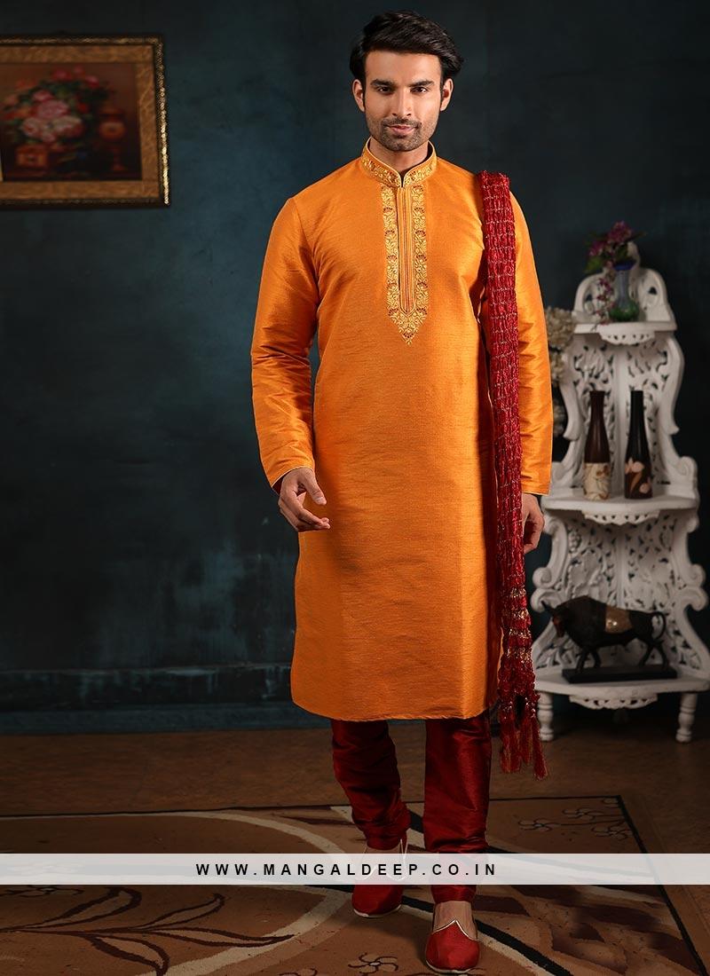 Festive Function Wear Orange Color Banarasi Art Silk Kurta Pajama
