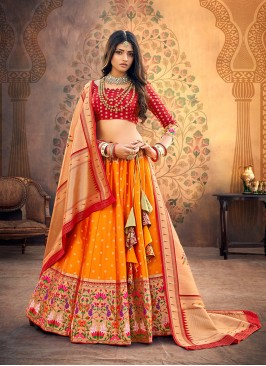 Festive Function Wear Orange Color Designer Lehenga Choli