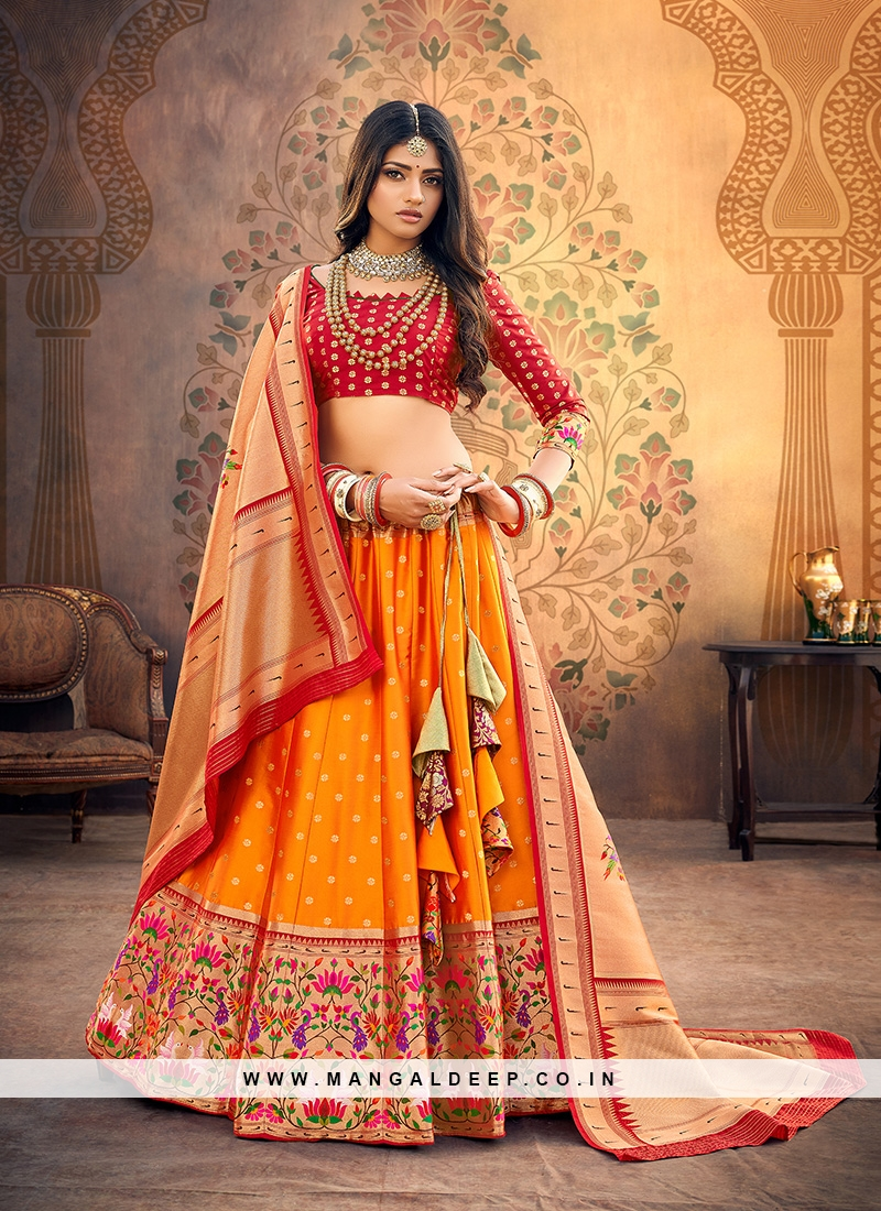 Festive Function Wear Orange Color Designer Lehenga Choli