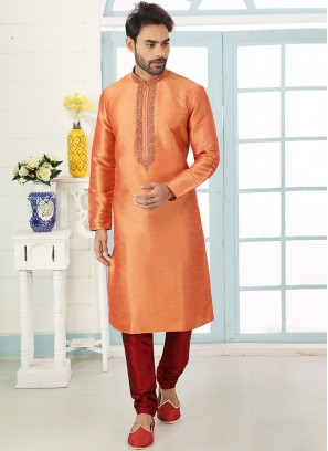 Festive Function Wear Orange Color Embroidered Kurta Pajama