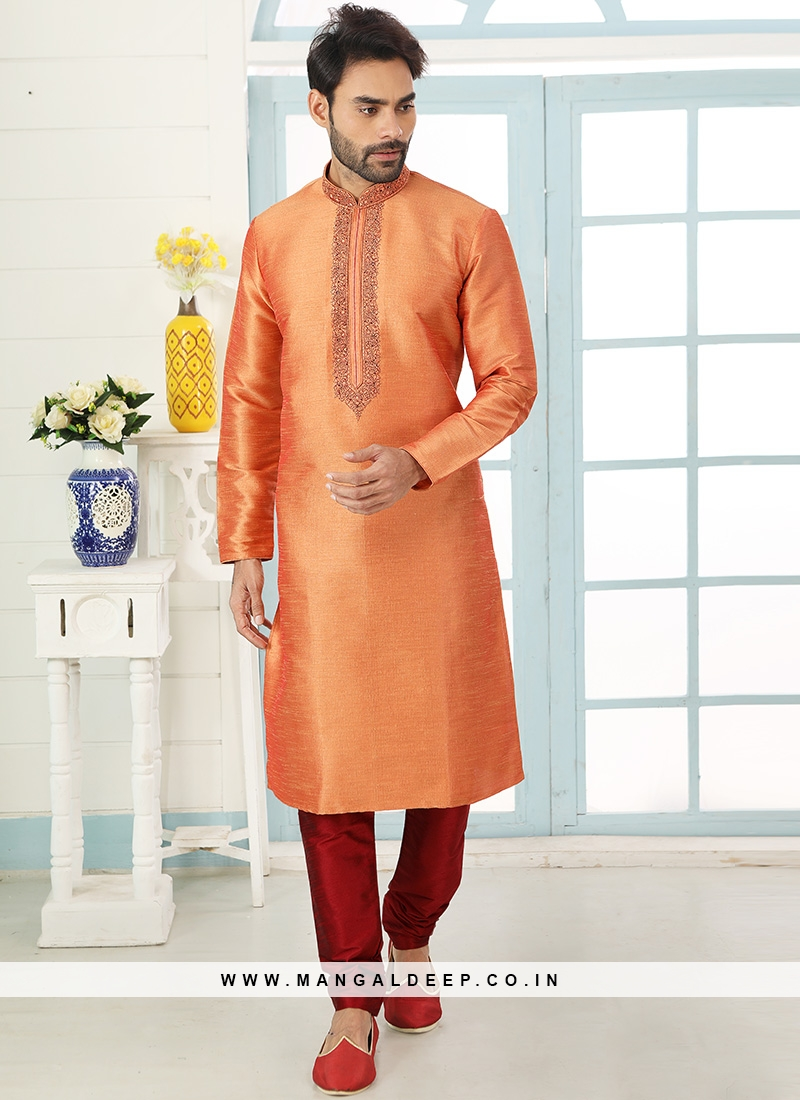 Festive Function Wear Orange Color Embroidered Kurta Pajama