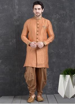 Festive Function Wear Orange Color Indo Western Kurta Pajama