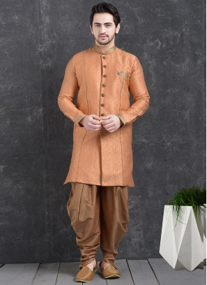 Festive Function Wear Orange Color Indo Western Kurta Pajama