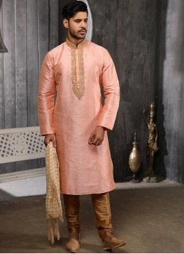 Festive Function Wear Peach Color Banarasi Art Silk Kurta Pajama
