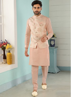 Festive Function Wear Peach Color Kurta Pajama With Jacket
