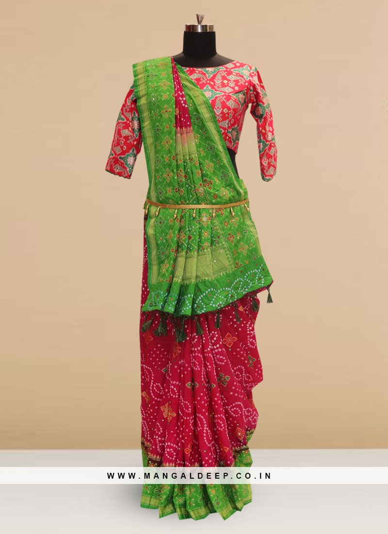 Festive Function Wear Pink And Green Color Designer Saree