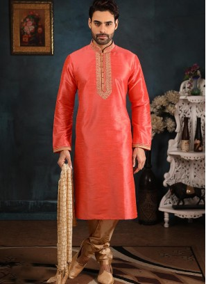 Festive Function Wear Pink Color Banarasi Art Silk Kurta Pajama