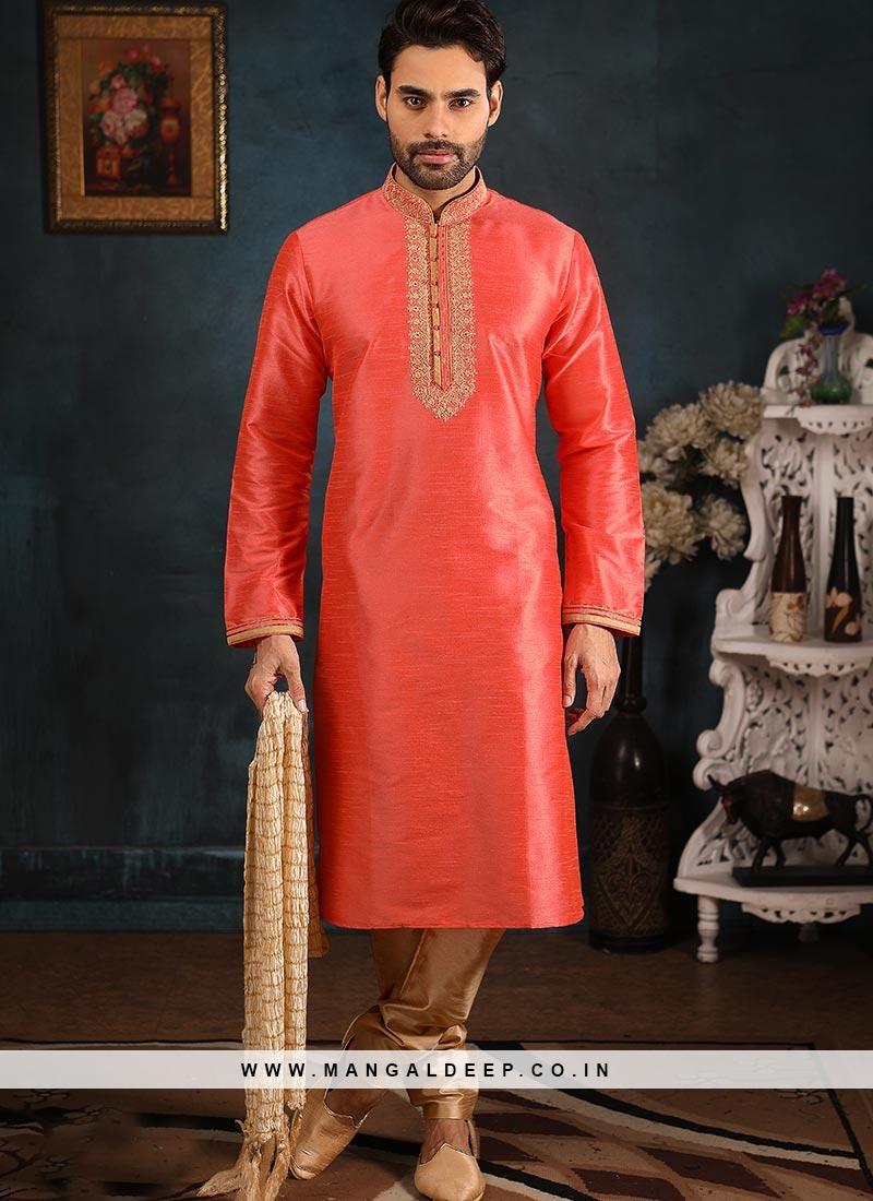 Festive Function Wear Pink Color Banarasi Art Silk Kurta Pajama