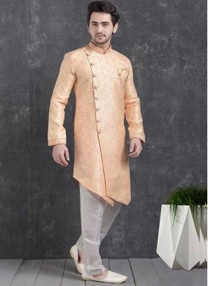 Festive Function Wear Pink Color Indo Western Kurta Pajama