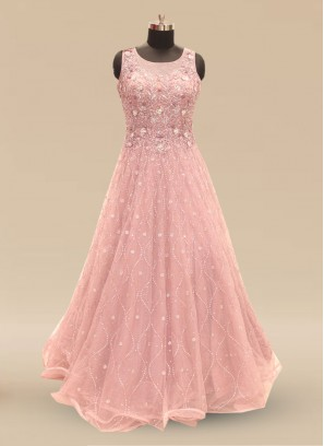 Festive Function Wear Pink Color Net Gown