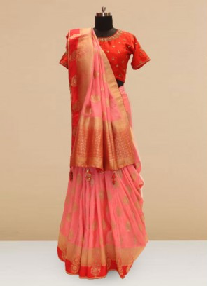 Festive Function Wear Pink Color Saree