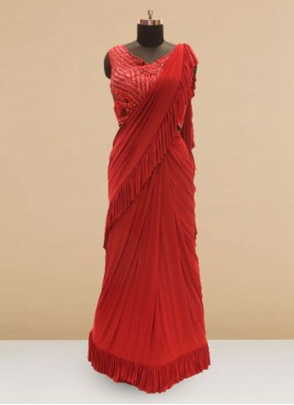 Festive Function Wear Red Color Saree