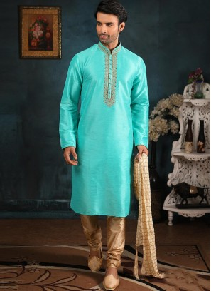 Festive Function Wear Sky Blue Color Banarasi Art Silk Kurta Pajama