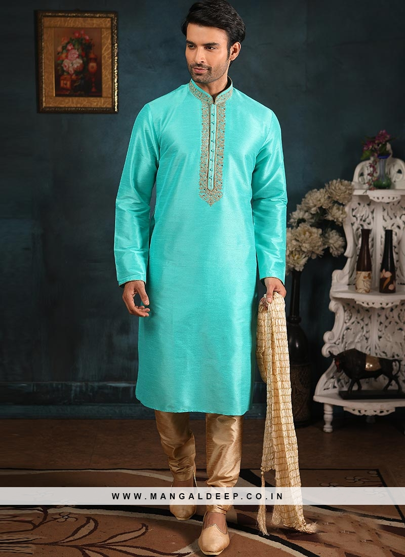Festive Function Wear Sky Blue Color Banarasi Art Silk Kurta Pajama