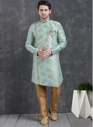 Festive Function Wear Sky Blue Color Indo Western Kurta Pajama