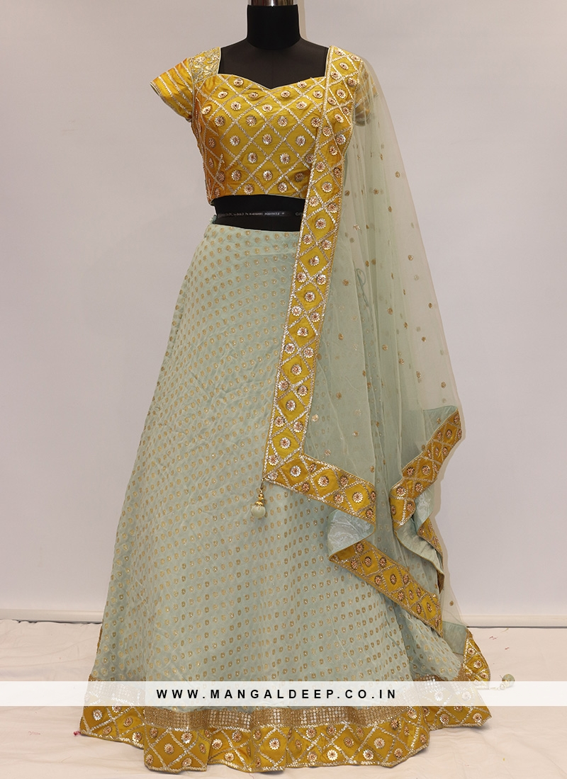 Festive Function Wear Sky Blue Color Lehenga Choli