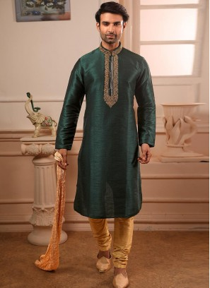 Festive Function Wear Teal Color Banarasi Art Silk Kurta Pajama