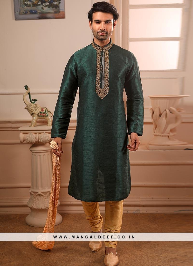 Festive Function Wear Teal Color Banarasi Art Silk Kurta Pajama