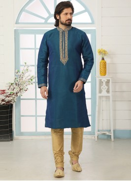 Festive Function Wear Teal Color Embroidered Kurta Pajama